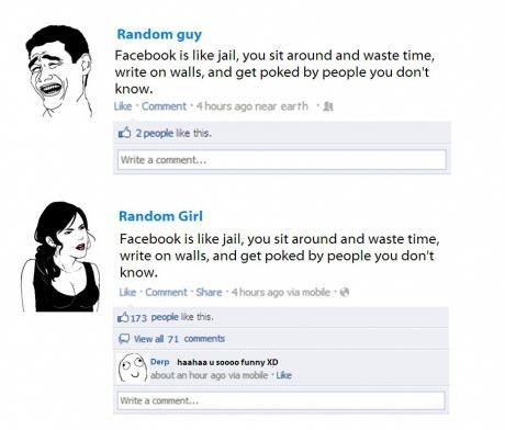 Boys Vs Girls on Facebook